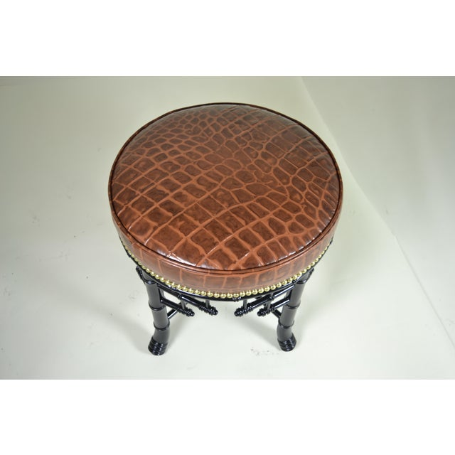 Regency Style Faux Bamboo Stool with Leather Cover For Sale In New York - Image 6 of 7