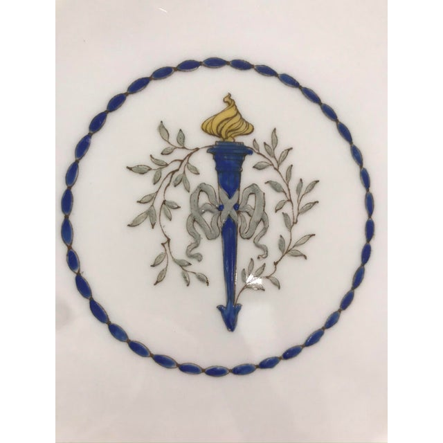 "English Mid 19th Century Minton ""Torch and Ribbon"" Blue Presentation Dinner Plates - Set of 10 For Sale - Image 3 of 10"