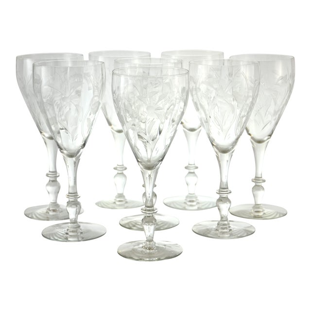 1960s Cut-Crystal Wine Glasses - Set of 8 - Image 1 of 5