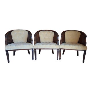 Mid-Century Modern Yellow Tufted Velveteen Cane & Wood Barrel Back Arm Chairs - Set of 3 For Sale