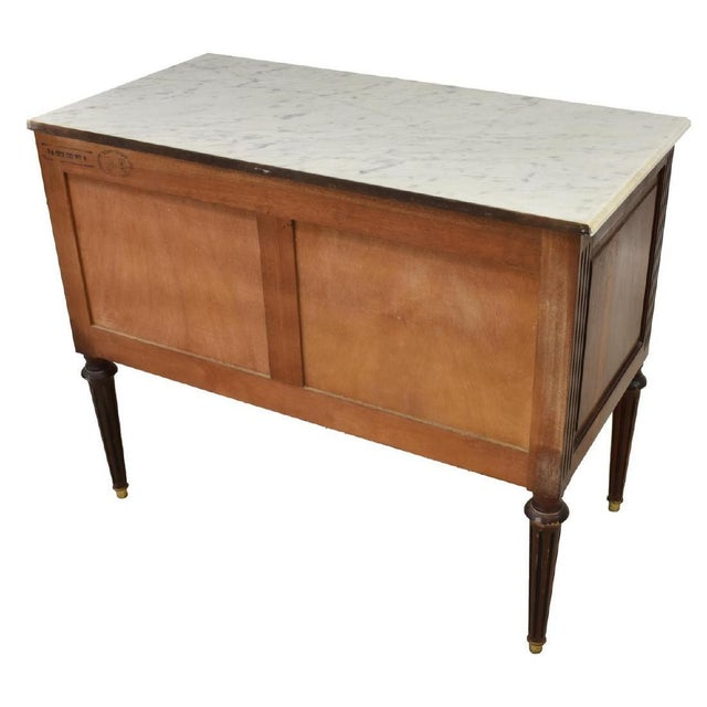 1950's French Louis XVI Style Marble-Top Mahogany Commode For Sale - Image 4 of 13