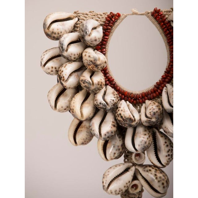 Red Vintage Grand Scale Cowrie Shell Necklace circa 1980, Africa, Mounted on Custom Stand For Sale - Image 8 of 9
