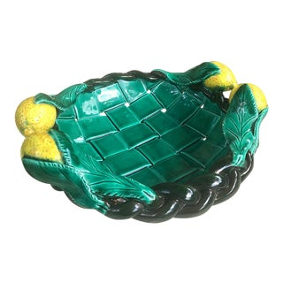 1960s Vintage French Ceramist Vallauri Weaved and Braided Signed Fruit Bowl For Sale