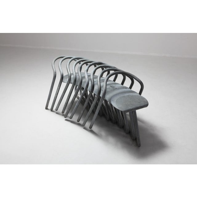 Gray Danish Stackable Chairs in Galvanized Steel by Erik Magnussen, Set of Nine For Sale - Image 8 of 10