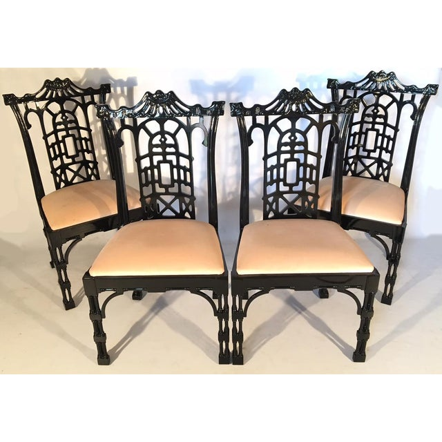 Asian Black Lacquer Asian Chinoiserie Pagoda Dining Chairs - Set of 4 For Sale - Image 3 of 11