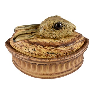 French Pillivuyt Trompe l'oeil Porcelain Hare, Glass Eyes, Pâté Terrine/Baker