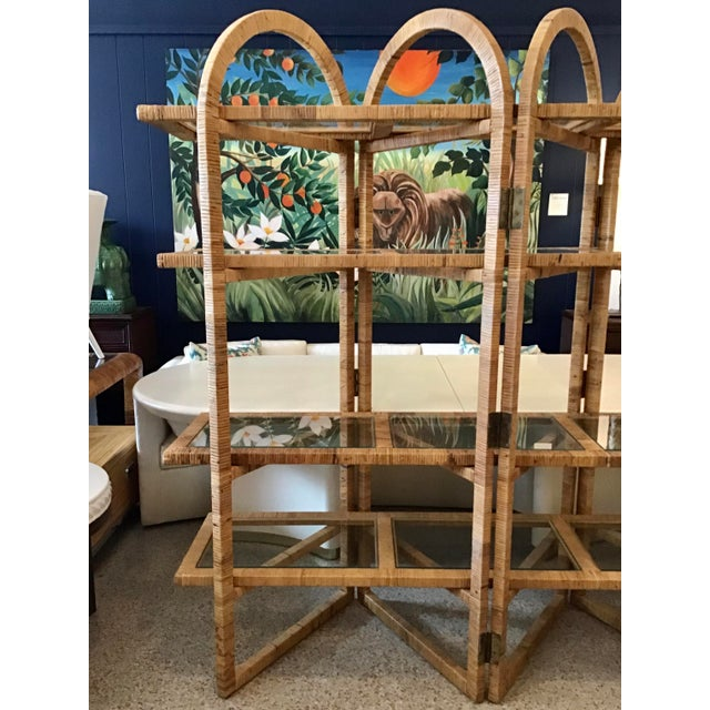Bielecky Brothers Rattan Arch Top Etagere For Sale In West Palm - Image 6 of 12