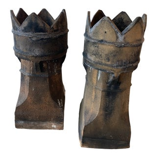 Antique 1890s English Chimney Pots Patina Industrial Planters -Pair For Sale