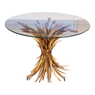 Coco Chanel Style Wheat Coffee Table in Gold For Sale
