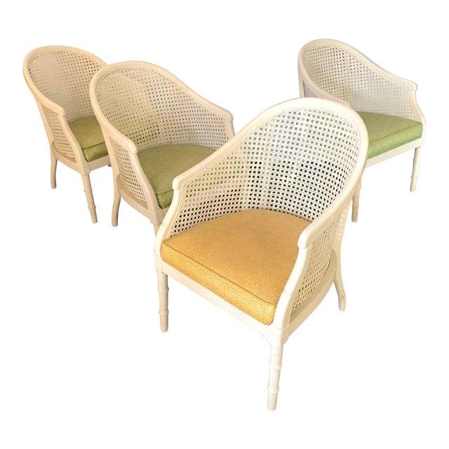 Vintage Cane Back Barrel Chairs, Set of Four For Sale