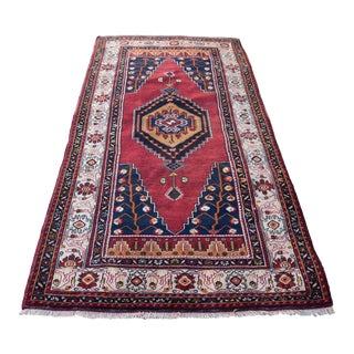 Turkish Vintage Hand Knotted Floral Oushak Anatolian Rug 4.3 X 8.5 Ft For Sale