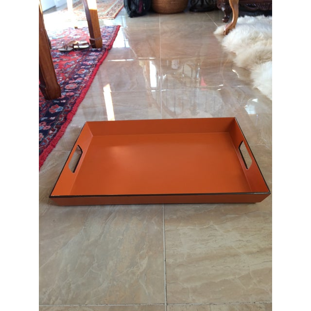 Paint Mid Century Modern Orange and Espresso Bar Tray For Sale - Image 7 of 13