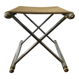 Mid-Century Modern Chrome & Suede Stool/Ottoman For Sale