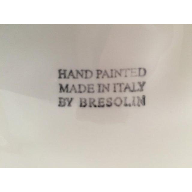 "Ceramic Italian 19"" Hand-Painted Banana Leaf Platter For Sale - Image 7 of 10"