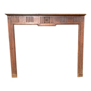 French Provincial Hand Carved 19th Century Walnut Fireplace Mantel For Sale