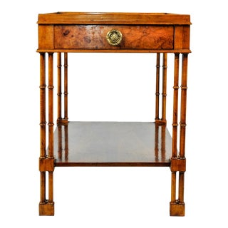 Baber Burlwood Side / End Table With Front Drawer For Sale