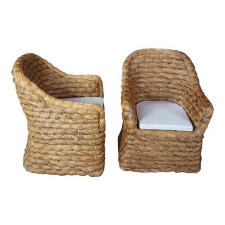 Ralph Lauren Joshua Tree Woven Barrel Back Dining Chairs - a Pair For Sale