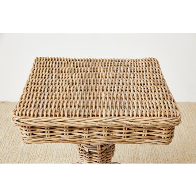 Woven Wicker and Rattan Pedestal Center Table For Sale - Image 4 of 13
