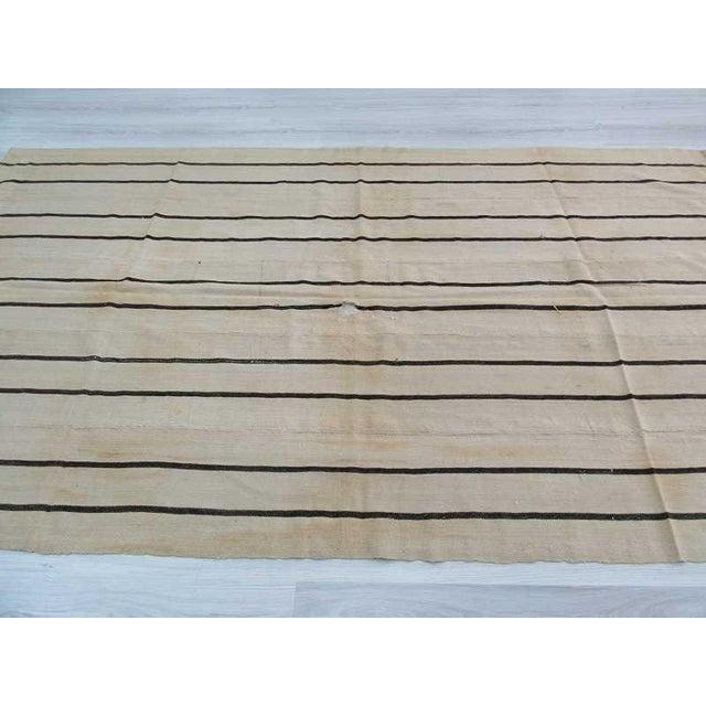 Vintage Striped Natural Turkish Kilim Rug - 5′7″ × 9′8″ For Sale - Image 4 of 6