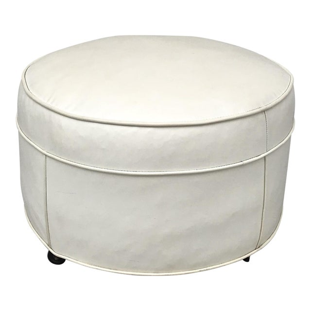 Rolling Ottoman Coffee Table.Vintage Mid Century White Rolling Ottoman