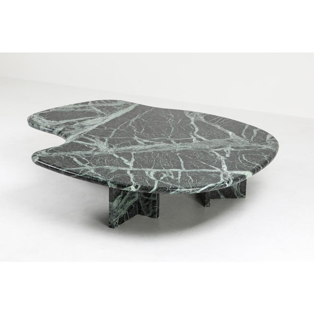 Postmodern Green Marble Coffee Table in the Manner of Noguchi For Sale - Image 10 of 12