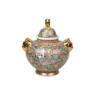 Famille Rose Canton Butterfly Porcelain Ginger Jar For Sale