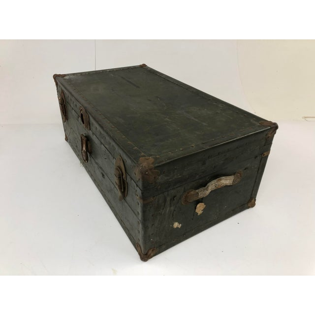 Animal Skin Vintage Industrial Green Wood Military Foot Locker Trunk W Tray For Sale - Image 7 of 13