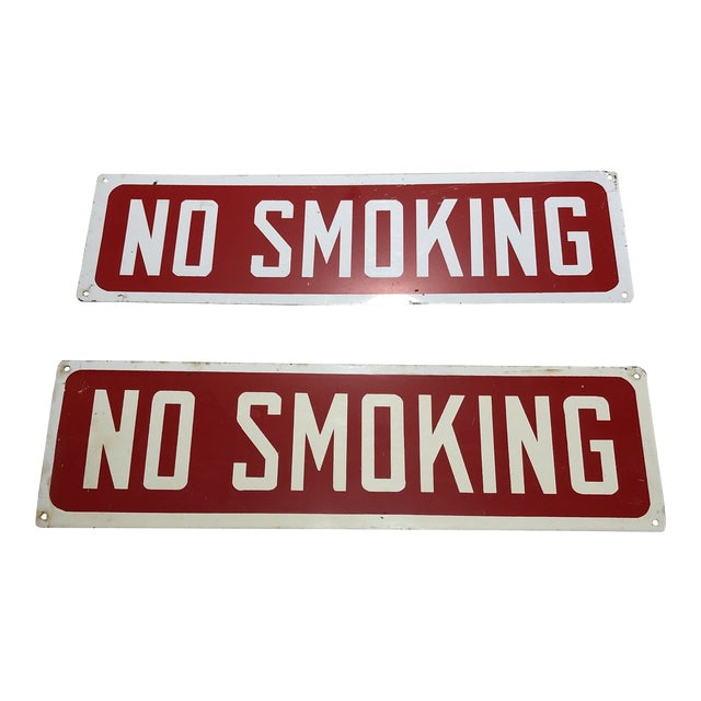 Vintage Red & White Enameled No Smoking Signs - a Pair For Sale