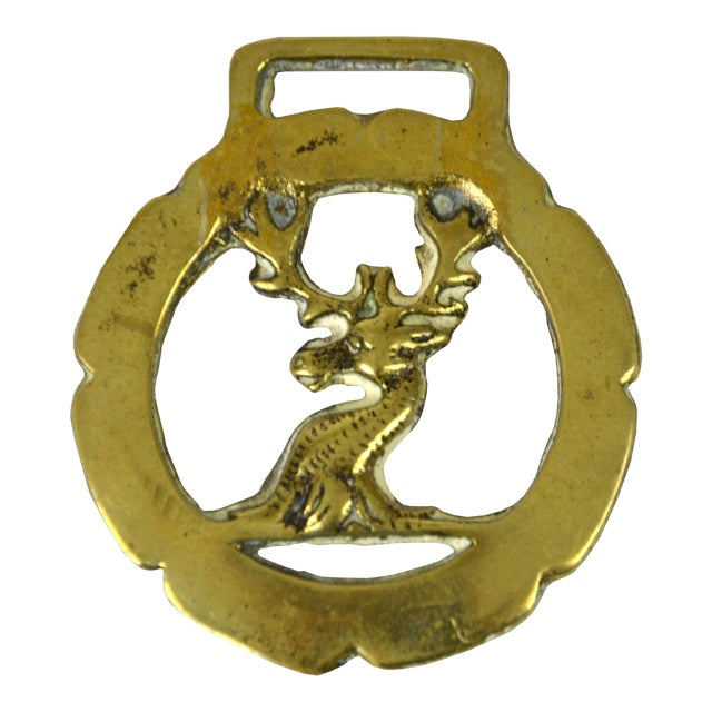Vintage English Brass Stag Equestrian Ornament For Sale