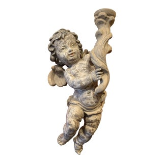 19th Century Baroque Polychrome Hand Carved Painted Parcel Gilt Cherub Figurine For Sale