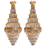 Image of Pair of Louis XVI Style Gilt Bronze and Crystal Swag Neoclassical Chandeliers For Sale