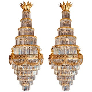 Pair of Louis XVI Style Gilt Bronze and Crystal Swag Neoclassical Chandeliers For Sale