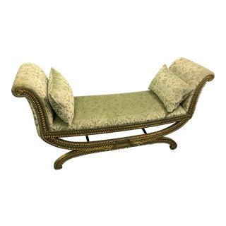 Vintage Mid Century Hollywood Regency Sage Velvet Boudoir Bench For Sale
