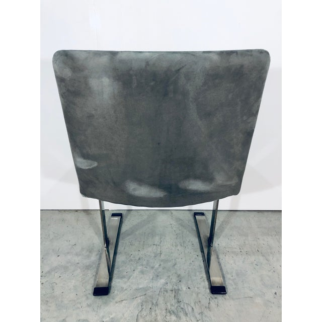 1970s Seven Giovanni Offredi for Saporiti Chrome Dining Chairs For Sale - Image 5 of 12