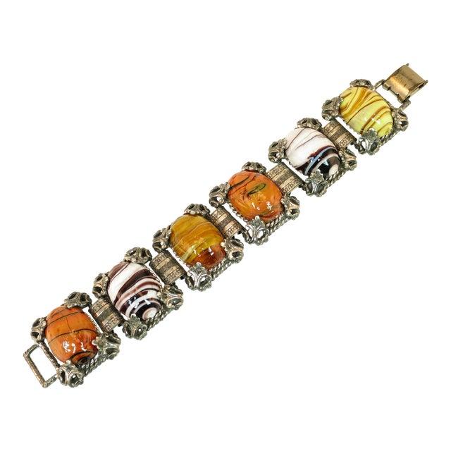 Mid-Century Selro Agate Art Glass Florentine Link Bracelet, 1950s For Sale
