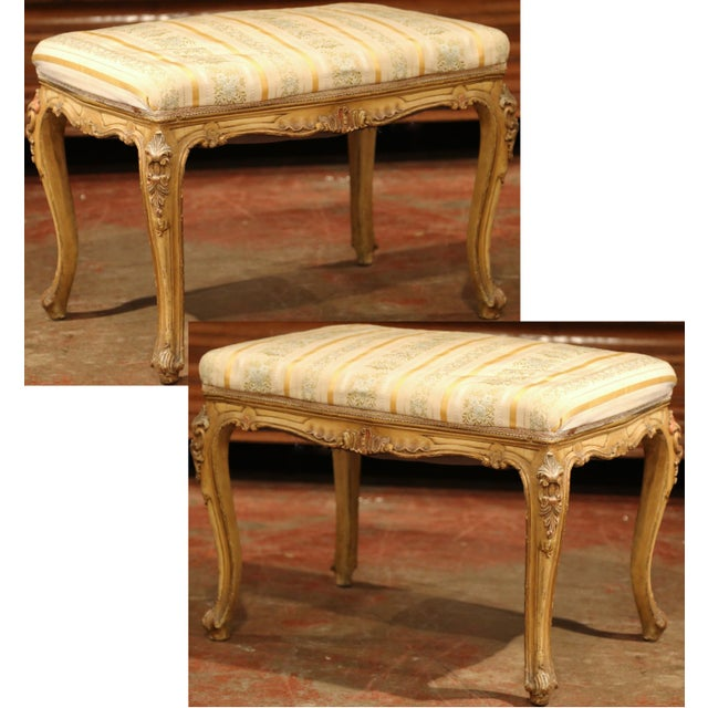 Fabric 19th Century French Louis XV Carved Painted Stools With Silk Fabric - a Pair For Sale - Image 7 of 7