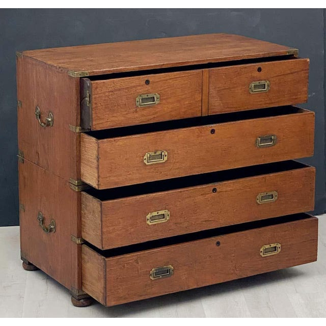 English Officer's Campaign Chest Secretaire of Teak and Brass For Sale - Image 4 of 13
