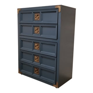 1970s Nautical Navy Blue Chest of Drawers For Sale