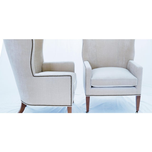 Modern Baker Furniture Modern Wingback Accent Chairs - A Pair For Sale - Image 3 of 12