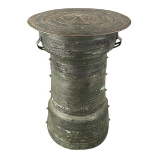 Antique Burmese Thai Bronze Frog Rain Drum Side Table For Sale