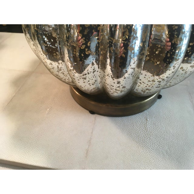 1980s Pair of Pumpkin Shaped Mercury Glass Lamps For Sale - Image 5 of 6