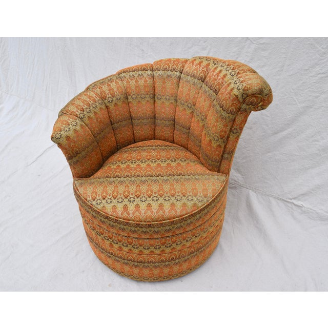 Channel Back Swivel Art Deco Inspired Chairs For Sale - Image 11 of 13