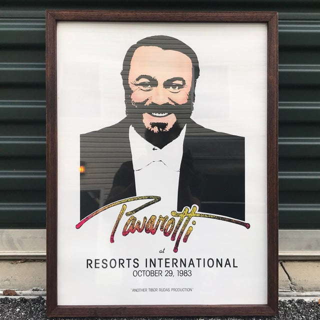 1983 Original Luciano Pavarotti Framed Concert Poster For Sale - Image 11 of 11