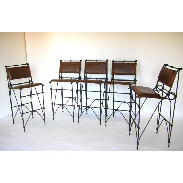 Industrial Set of Five Illana Goor Iron Bar Stools For Sale - Image 3 of 11