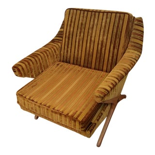 Classic Mid-Century Modern Striped Velvet Lounge Chair on Walnut Base For Sale