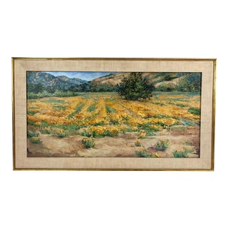 1989 California Landscape Field of Poppies Painting on Canvas Signed Peggy Brierton For Sale