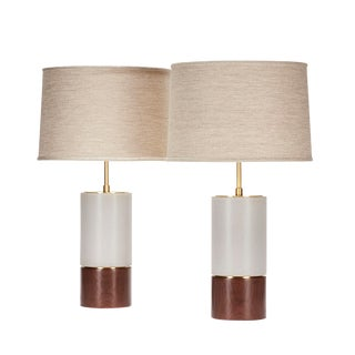 Short Baxter Lamp in Fossil Gray With Walnut Base - a Pair For Sale