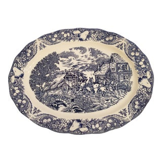 Large Sanyei-Japan Blue and White Transfer Platter For Sale