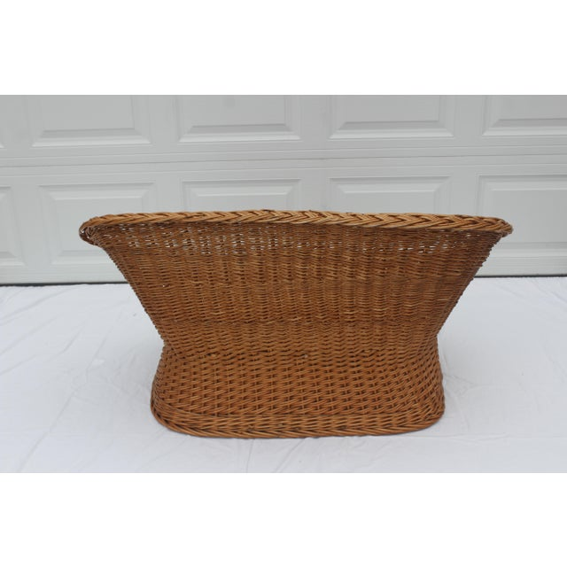 1970s Vintage Woven Rattan Wicker Settee For Sale - Image 4 of 8