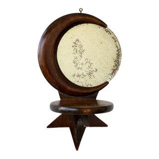 Vintage Handmade Celestial Walnut Mirrored Sconce, Circa 1940s For Sale